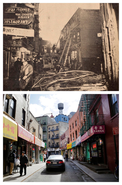 "This combination shows the Jan. 17, 1941 photo ""Chinatown fire"" by Weegee, provided by the International Center of Photography in New York, and Doyers Street in New York on Wednesday, March 18, 2015. (Photo by AP Photo/Copyright Weegee/The International Center of Photography, Mark Lennihan)"