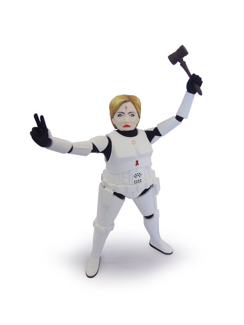 Hillary Clinton as a Stormtrooper. (Photo by Mike Leavitt/Rex USA)