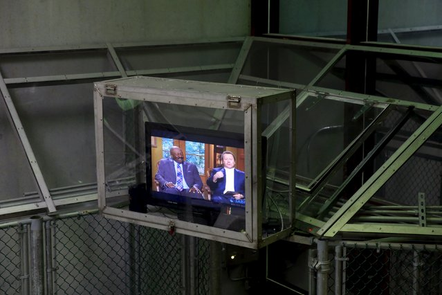 A protected television set hangs above a cell block within Joint Task Force Guantanamo's Camp VI at the U.S. Naval Base in Guantanamo Bay, Cuba March 22, 2016. (Photo by Lucas Jackson/Reuters)