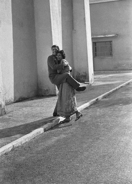 Sophia Loren and Marcello Mastroianni at Cinecittà film studios, Rome, in 1955. (Photo by Paolo Di Paolo/National Museum of 21st Century Arts)