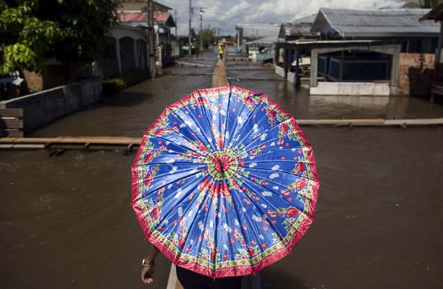A resident walks on a makeshift walkway above a flooded street from the rising Rio Solimoes, one of the two main branches of the Amazon River, in Careiro da Varzea of Amazonas State, Brazil, June 30, 2015. According to the state Civil Defense, more than 460,000 people were affected by strong rains in the state. (Photo by Bruno Kelly/Reuters)