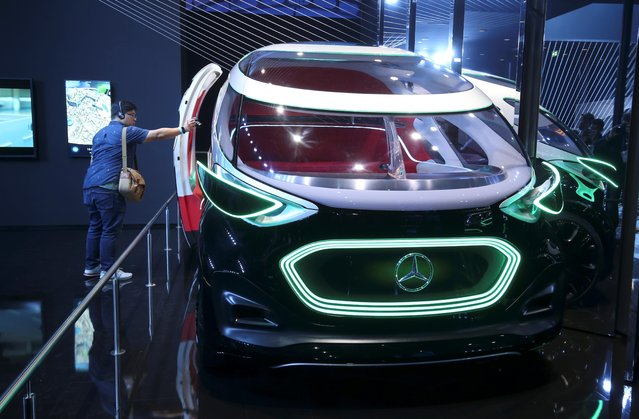 The Mercedes-Benz Vision Urbanetic concept car is pictured during the preparations for the international Frankfurt Motor Show IAA in Frankfurt, Germany on September 9, 2019. (Photo by Ralph Orlowski/Reuters)
