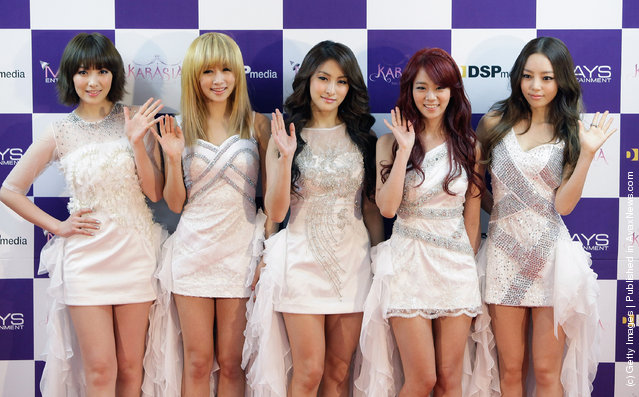 KARA arrive before their first solo concert KARASIA at Olympic gymnasium on February 18, 2012 in Seoul, South Korea