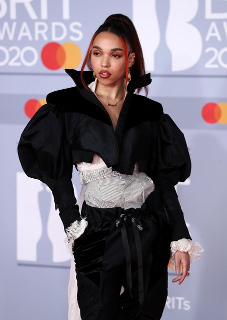 FKA twigs poses as she arrives for the Brit Awards at the O2 Arena in London, Britain, February 18, 2020. (Photo by Simon Dawson/Reuters)