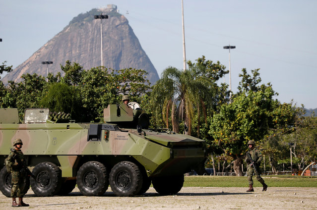 Brazilian Navy armored vehicle is seen during a street patrolling exercise on Aterro highway ahead of the 2016 Rio Olympics in Rio de Janeiro, Brazil, July 9, 2016. (Photo by Sergio Moraes/Reuters)