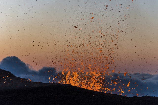 Molten lava erupts from the Piton de la Fournaise, one of the world's most active volcanoes, at dawn on the French Indian Ocean Reunion Island, August 25, 2015. (Photo by Gilles Adt/Reuters)