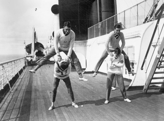 Oxford University relay team leap-frog  to keep fit on board SS Berengaria on their way to the USA, April 1923.