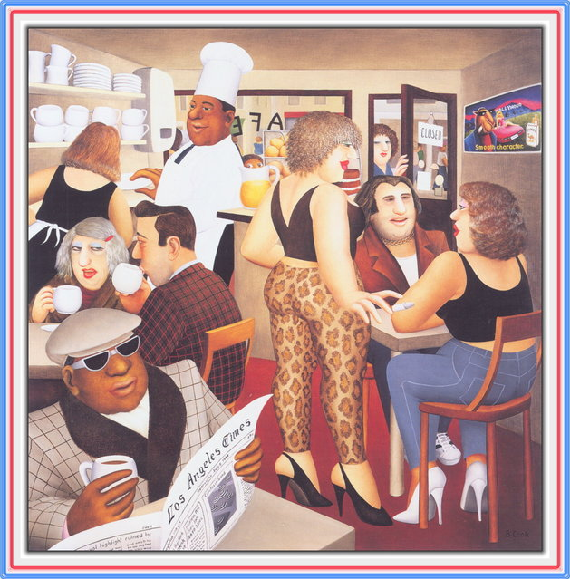 Hollywood Cafe. Artwork by Beryl Cook