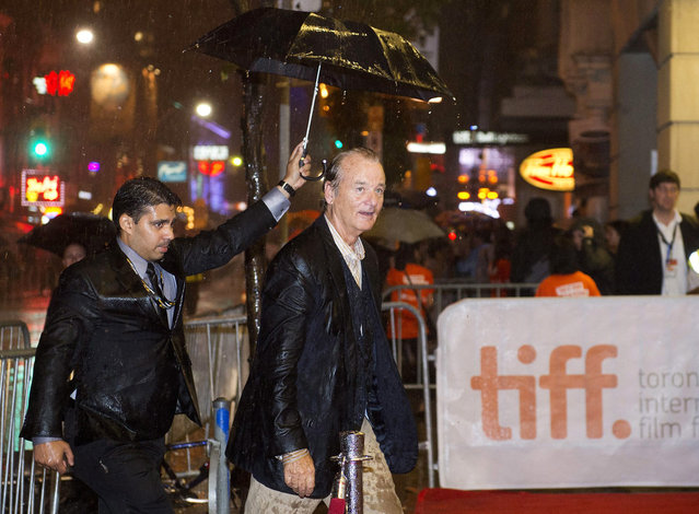 """Actor Bill Murray is soaked by a down pour of rain after he signed autographs for fans at the premiere of his film, """"St. Vincent"""" during the 2014 Toronto International Film Festival in Toronto on Friday, September 5, 2014. (Photo by Nathan Denette/AP Photo/The Canadian Press)"""