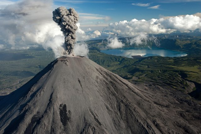 "Russia From Above: ""An Explosive Scene"". The 1,486-meter-high Karymskii Volcano in Kamchatka. (Photo by Sergey Fomin)"