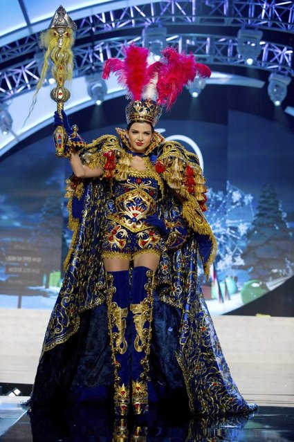 Miss Peru Nicole Faveron performs onstage at the 2012 Miss Universe National Costume Show on Friday, December 14, 2012 at PH Live in Las Vegas, Nevada. The 89 Miss Universe Contestants will compete for the Diamond Nexus Crown on December 19, 2012. (Photo by AP Photo/Miss Universe Organization L.P., LLLP)