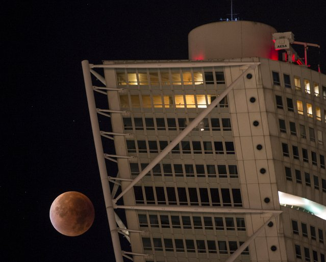 The supermoon appears behind the Turning Torso building during a total lunar eclipse in Malmo, south of Sweden September 28, 2015. (Photo by Johan Nilsson/Reuters/TT News Agency)