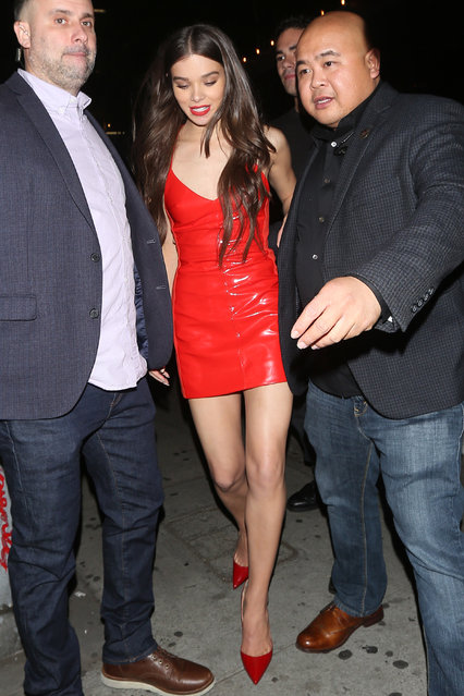 Hailee Steinfeld wears a red leather dress with red shoes as she leaves the Nice Guy Club after celebrating her 21st birthday with friends in West Hollywood on December 17, 2017. (Photo by Photographer Group/Splash News and Pictures)
