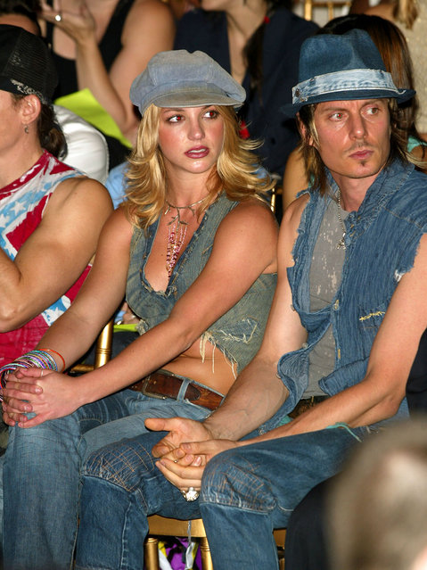 Britney Spears at the House Of Field Spring 2003 fashion show during Mercedes-Benz Fashion Week in New York City. September 22, 2002. (Photo by Evan Agostini/Getty Images)