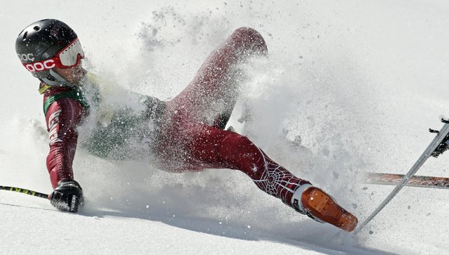 Grant Jampolsky, of Squaw Valley, Calif., crashes during the men's super-G race at the U.S. Alpine Ski Championships in Squaw Valley, Friday, March 22, 2013. (Photo by Charles Krupa/AP Photo)