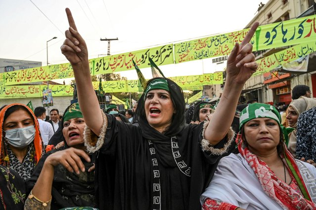 Activists of the Pakistani Muslim League – Nawaz (PML-N) shout slogans in support of Pakistan Opposition Leader and PML-N President Shahbaz Sharif during a protest rally in Lahore on October 3, 2020, after the court rejected Sharif's bail plea in a money laundering and assets beyond income case on September 28. (Photo by Arif Ali/AFP Photo)