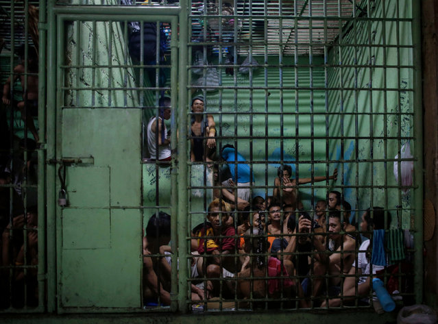 Filipino inmates are seen inside a jail in Manila, Philippines, 15 July 2016. Recent figures released by the Philippine National Police (PNP) show that from July to September 2016 around 3,500 people have been killed during the anti-drug campaign, with over a 1,000 killed in police operations and the rest by so-called 'vigilantes' or in unexplained killings that are under investigation by the police. With a death rate of about 38 people per day, over 700,000 people involved in the drug trade 'voluntarily surrendered' to authorities for fear of being killed and over 16,000 have been arrested. Most of the targeted individuals are suspected by police or vigilantes of their involvement in illegal drug trade, including drug users and drug distributors. (Photo by Mark R. Cristino/EPA)