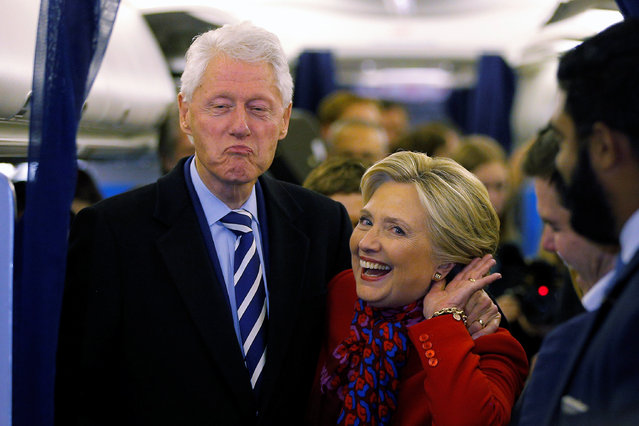 U.S. Democratic presidential nominee Hillary Clinton and her husband, former U.S. President Bill Clinton, talk to reporters on her campaign plane in Philadelphia, Pennsylvania, U.S. November 7, 2016, the final day of campaigning before the election. (Photo by Brian Snyder/Reuters)