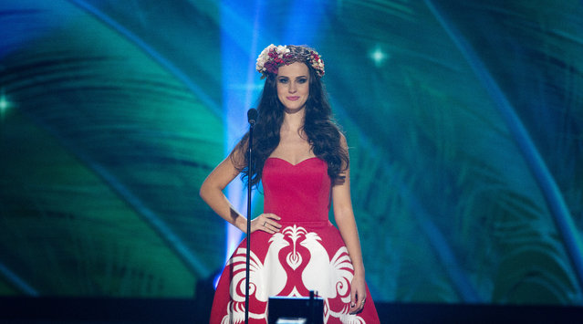 Miss Poland, Marcela Chmielowska, poses for the judges, during the national costume show during the 63rd annual Miss Universe Competition in Miami, Fla., Wednesday, January 21, 2015. (Photo by J. Pat Carter/AP Photo)