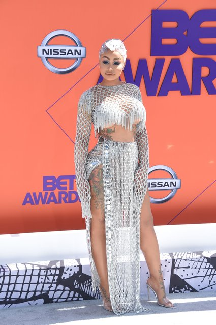 US model Blac Chyna poses upon arrival for the BET Awards at Microsoft Theatre in Los Angeles, California, on June 24, 2018. (Photo by Lisa O'Connor/AFP Photo)