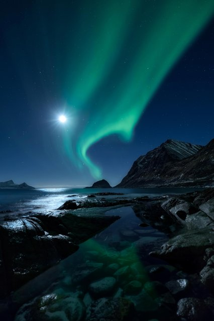 Aurora Borealis above the fjord at Haukland in the gorgeous Lofoten archipelago, Northern Norway. (Photo by Mikkel Beiter/Astronomy Photographer of the Year 2018)