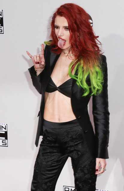 Bella Thorne arrives at the 2016 American Music Awards at Microsoft Theater on November 20, 2016 in Los Angeles, California. (Photo by Splash News and Pictures)