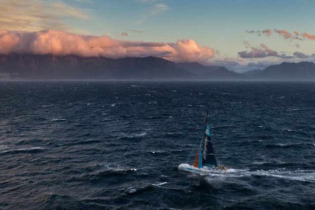 In this photograph supplied by Volvo Ocean Race, Spanish team Team Telefonica, skippered by Iker Martinez, finish to win leg 1 of the Volvo Ocean Race 2011-12 from Alicante, Spain to Cape Town, South Africa Saturday, November 26, 2011 to take the lead in the competition. (Photo by Ian Roman/AP Photo/Volvo Ocean Race photo via AP Images)