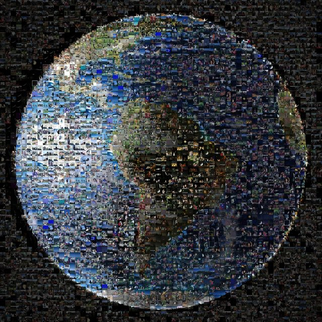 This Nasa image released on Tuesday shows a mosaic of photos from around the world collected as part of the Wave at Saturn event organised by those behind the US space agency's Cassini mission. The event on July 19 marked the day the Cassini spacecraft turned back towards Earth to take a picture as part of a larger mosaic of the Saturn system. The images came via Twitter, Facebook, Flickr, Instagram, Google+ and email. (Photo by Ho/Nasa/AFP Photo)