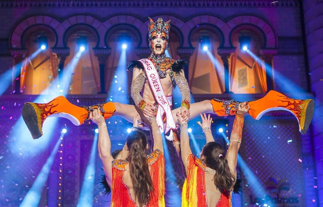 Winner Valkiria performs in a drag queen competition during carnival festivities in Las Palmas on the Spanish Canary Island of Gran Canaria February 20, 2015. (Photo by Borja Suarez/Reuters)