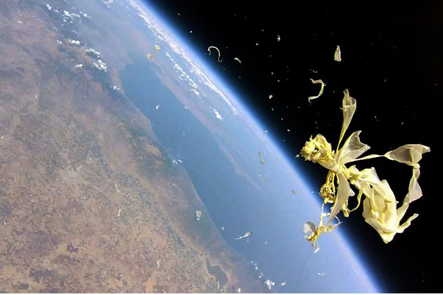 The photo above shows the remains of a high altitude balloon just after it burst far above the Thessalian Plain of northern Greece. This was Greece's first suborbital photography project. The project that launched the balloon is referred to as SlaRos (Tesla,Ikaros); the mission is called Stratonauts. Mount Olympus is beneath the clouds at top left – to the left of the balloon is the Aegean Sea. The balloon reached an altitude of 111,296 ft (33, 923m) before bursting. (Photo by Kostas Tamateas)