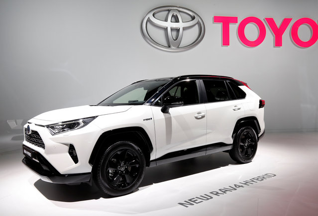 The new 2019 Toyota RAV4 Hybrid is on display at the Auto show in Paris, France, Tuesday, October 2, 2018, 2018. (Photo by Benoit Tessier/Reuters)