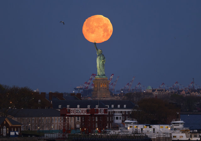 """A Pink Supermoon sets behind the Statue of Liberty in New York City on Monday, April 26, 2021. This week's supermoon is dubbed the """"pink"""" moon because of its timing close to flower blooming season. (Photo by John Angelillo/UPI/Rex Features/Shutterstock)"""