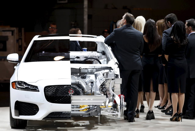 A 2016 aluminum Jaguar XF is shown at the 2015 New York International Auto Show in New York City, April 1, 2015. (Photo by Mike Segar/Reuters)