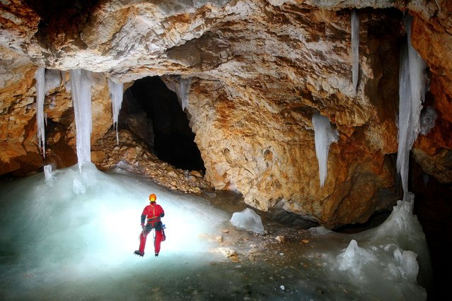 The Ice Cave in Visevnik, Slovenia. (Photo by Peter Gedei/Caters News)