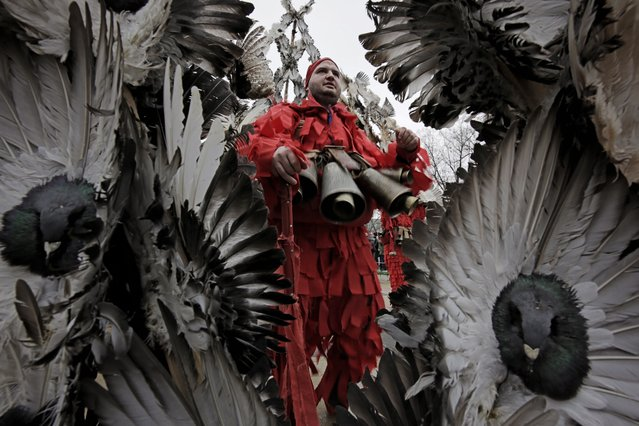 """Masked Bulgarian dancers from the village of Kosharevo take part in the 28th International Festival of Masquerade Games """"Surva"""" in the town of Pernik, Bulgaria Saturday, January 26, 2019. The carnival in the city of Pernik, attracted a record number of 7,500 participants from all over the country, as well as foreign dancers from across Europe. It marks the culmination of traditional winter festivities that are believed to date back to pagan times. (Photo by Valentina Petrova/AP Photo)"""