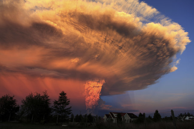 The Calbuco volcano erupts near Puerto Varas, Chile, Wednesday, April 22, 2015. (Photo by Diego Main/AP Photo/Aton Chile)