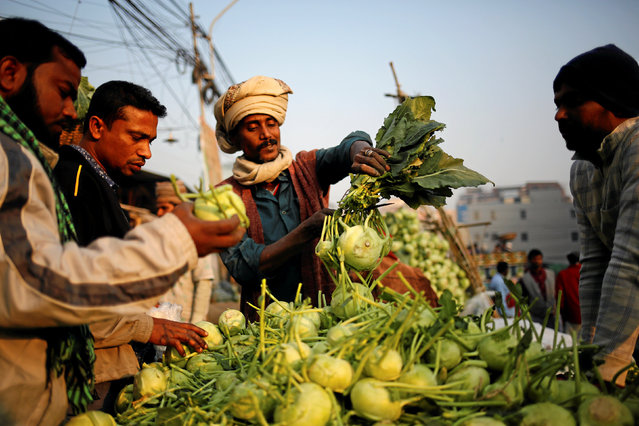 A vegetable seller cuts off the leaves of kohlrabi before selling it at Kawran Bazar in Dhaka, Bangladesh January 25, 2017. (Photo by Mohammad Ponir Hossain/Reuters)