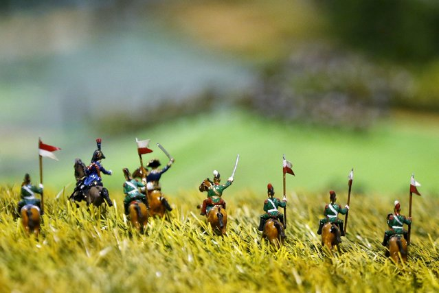 Figurines representing French Brigade of Lancers are seen on a 40-square-metre miniature model of the June 18, 1815 Waterloo battlefield, in Diest, Belgium, in this picture taken on April 29, 2015. (Photo by Francois Lenoir/Reuters)