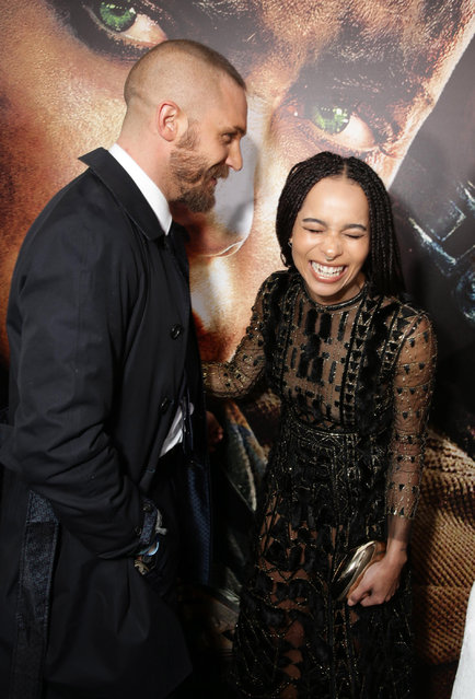"Tom Hardy and Zoe Kravitz seen at the Warner Bros. premiere of ""Mad Max: Fury Road"" on Thursday, May 7, 2015, in Los Angeles. (Photo by Eric Charbonneau/Invision for Warner Bros./AP Images)"