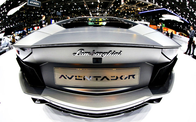 The rear of Lamborghini Aventador is pictured during the media day ahead of the 84th Geneva Motor Show at the Palexpo Arena in Geneva March 5, 2014. (Photo by Arnd Wiegmann/Reuters)