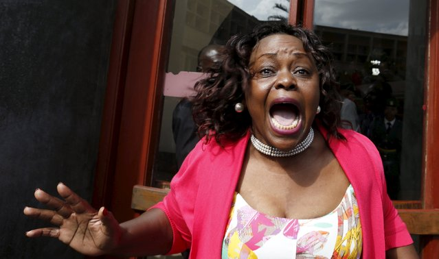 Kenyan Member of Parliament Millie Adhiambo shouts in protest as she leaves the National Assembly during President Uhuru Kenyatta's annual State of the Nation address at the Parliament Buildings in the capital Nairobi, March 31, 2016. (Photo by Thomas Mukoya/Reuters)