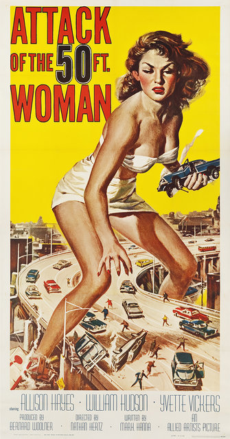 "Attack of the 50 Foot Woman (Allied Artists, 1958). Three Sheet (41"" X 81"") with artwork by Reynold Brown. Estimate: $10,000 - $20,000. (Photo by Courtesy Heritage Auctions)"