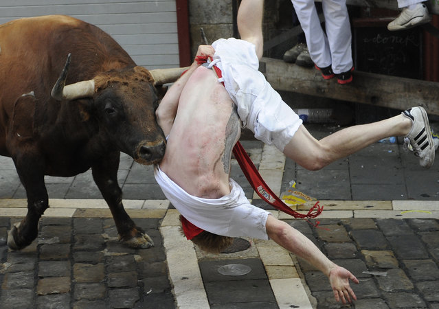 "A Jandilla bull charges at a participant during the first ""encierro"" (bull-run) of the San Fermin Festival in Pamplona, northern Spain, on July 7, 2015. The festival is a symbol of Spanish culture that attracts thousands of tourists to watch the bull runs despite heavy condemnation from animal rights groups. (Photo by Ander Gillenea/AFP Photo)"
