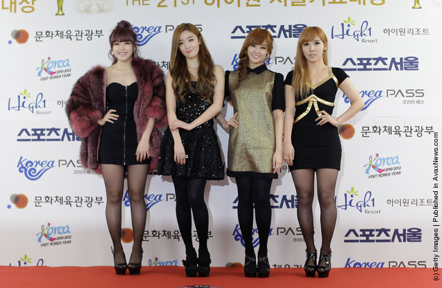 South Korean girl group Secret arrive during the 21st High1 Seoul Music Awards