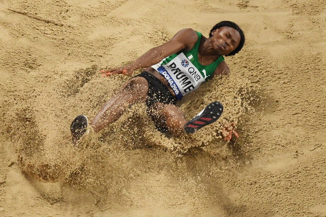 Nigeria's Ese Brume competes in the Women's Long Jump final at the 2019 IAAF Athletics World Championships at the Khalifa International stadium in Doha on October 6, 2019. (Photo by Antonin Thuillier/AFP Photo)