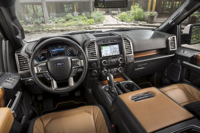 The interior dash of the 2016 Ford F-150 Limited is shown in this recent photo released by Ford Motor Company on July 20, 2015. (Photo by Reuters/Ford Motor Company)