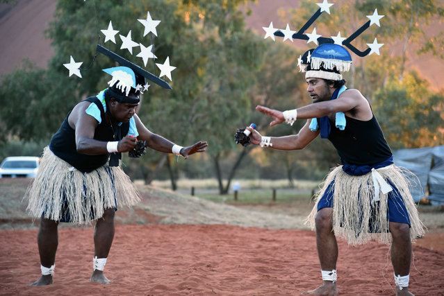 Dancers from Thursday Island in the Torres Strait at the opening ceremony for the National Indigenous Constitutional Convention in Mutitjulu near Uluru, Northern Territory, Australia, 23 May 2017 (issued 24 May 2017). More than 250 Aboriginal leaders from across the country will meet for a three-day summit in Central Australia to reach a united position on what amendments to the founding document might look like. (Photo by Lucy Hughes Jones/EPA)