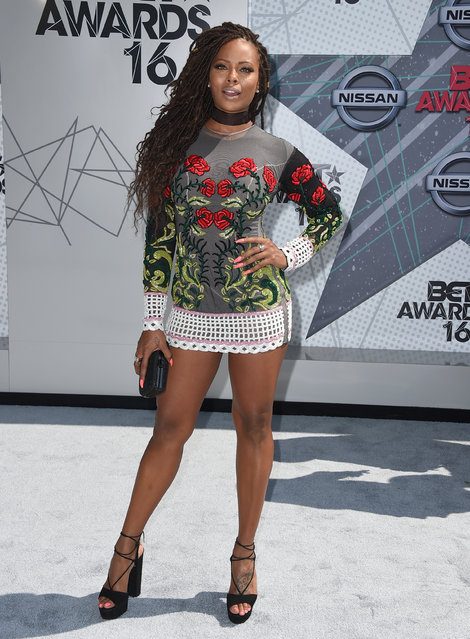 Eva Marcille arrives at the BET Awards at the Microsoft Theater on Sunday, June 26, 2016, in Los Angeles. (Photo by Jordan Strauss/Invision/AP Photo)