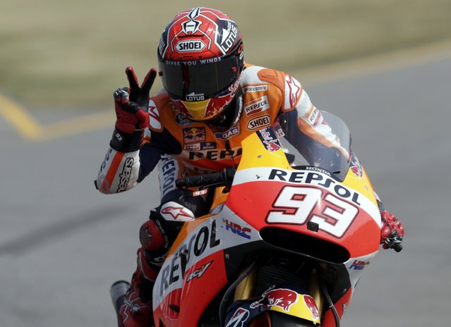 Honda MotoGP rider Marc Marquez of Spain reacts after finishing second in the Czech Grand Prix in Brno, Czech Republic, August 16, 2015. (Photo by David W. Cerny/Reuters)