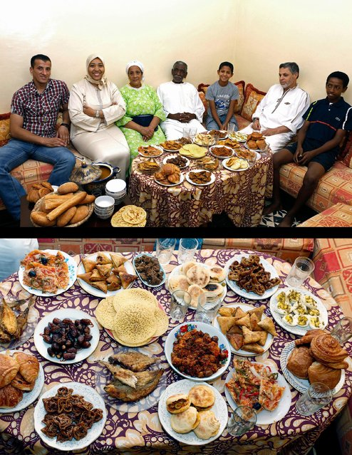 This combination of two photos taken on July 5, 2014, shows the Aazzab family waiting to break their fast, top, and their meal, bottom, during the holy month of Ramadan in Casablanca, Morocco. (Photo by Abdeljalil Bounhar/AP Photo)